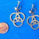 "VINTAGE BALLENTINE BEER PRETZEL SILVER TONE HANGING SCREW ON EARRINGS 1.75""x1"""