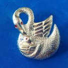 "TEXTURED SILVER TONE MOTHER SWAN & BABY PIN RED ENAMEL EYES 1 3/4"" X 1 3/8"""