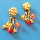 "LOVELY GOLD TONE FLOWER WITH COLORFUL DANGLES PIERCED EARRINGS 2"" LONG"