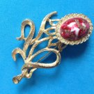 "VINTAGE GOLD TONE FLOWER RHINESTONE & RED WHITE GOLD FLECK GLASS PIN 2.5"" X 1.5"""