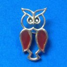"VINTAGE CUT OUT OWL PIN PENDANT GOLD TONE BROWN ENAMEL WINGS 1 7/8"" x 3/4"""