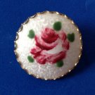 "FEMININE HAND PAINTED RED ROSE ON WHITE ENAMEL BASE GOLD TONE PIN 1 1/4""DIAMETER"