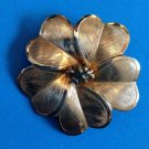 GOLD TONE CLOVER LIKE FLOWER PIN GREEN STONE CENTER TEXTURED LEAVES @ 1 1/2""