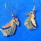 """HANGING GREEN & GOLD ENAMEL ANGELS IN GOLD TONE PIERCED DANGLE EARRINGS 1.5""""x.5"""""""