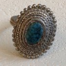 "VINTAGE COSTUME TURQUOISE & SILVER TONE ADJUSTABLE RING 7/8"" X 3/4"""