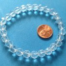 "ELEGANT FACETED CLEAR CRYSTAL BEADED STRETCHY BRACELET 7 1/2"" X 3/8"" DIAMETER"