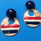 "LARGE FUN RED WHITE & BLUE NAUTICAL DANGLING PIERCED EARRINGS 2 1/8"" X 1 1/2"""