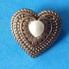 "VINTAGE PATTERNED GOLD TONE HEART PIN WITH COSTUME PEARL.1 1/8"" X 1 1/8"" ""TAIWAN"""