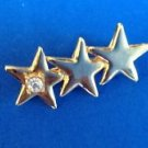 "PRETTY 3 SHOOTING STARS WITH RHINESTONE PIN 1 3/4"" X 3/4"""