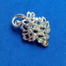 "VINTAGE SILVER TONE PIN AURORA BOREALIS RHINESTONE GRAPES IN POT METAL 2""x1 1/2"""