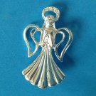 "VINTAGE SILVER TONE PIN SINGING ANGEL WITH A RHINESTONE HALO 2"" x 1 1/8"""