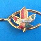 "VINTAGE CLOISONNÉ NOVA SCOTIA MAPLE LEAF WISHBONE GOLD TONE PIN 1 1/2"" X 3/4"""