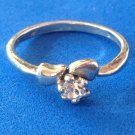 PRETTY LITTLE SILVER TONE & CLEAR STONE RING SIZE 7 1/2....SWEET !
