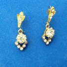 "FANCY DELICATE DANGLING RHINESTONE IN GOLD TONE PIERCED EARRINGS 7/8"" X 3/8"""