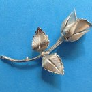 "VINTAGE TEXTURED SILVER TONE ROSE BUD PIN @ 3"" X 1 1/2"""