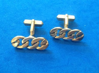 "VINTAGE ""SWANK"" GOLD & SILVER TONE TRIPLE LINK CUFF LINKS 1"" X 3/8"" - VG CONDITION"