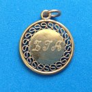 """VINTAGE PRETTY GOLD TONE FILIGREE CHARM OR PENDANT INITIALED """"F.T.A. 4/28/77"""""""