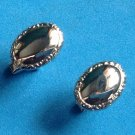 """VINTAGE SILVER TONE CLASSIC DESIGN CUFF LINKS 3/4"""" X 3/8""""- GREAT CONDITION !"""