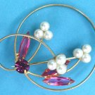 "PRETTY VINTAGE FLOWER WITH PEARLS & PINK STONES PIN - COSTUME 1 3/4"" IN DIAMETER"