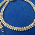 "SILVER TONE COSTUME WHITE PEARL CHOKER NECKLACE UP TO 15 1/2"" LONG X 1/4"" WIDE"