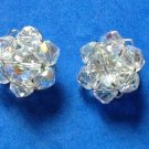 "VINTAGE CLEAR AURORA BOREALIS BEADED CLUSTER CLIP ON EARRINGS 7/8"" IN DIAMETER"