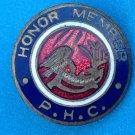 "VINTAGE ANTIQUE HONOR MEMBER P. H. C. ENAMEL SMALL PIN ""C"" CLASP 5/8"" DIAMETER"