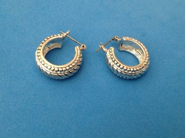 "LOVELY FANCY DESIGN HINGED HOOP EARRINGS - 3/8"" WIDE X 3/4"" IN DIAMETER"