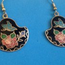 "VINTAGE CLOISONNÉ RED & PINK ROSE BLUE BUTTERFLY PIERCED EARRINGS 1 3/4"" X 1"""