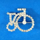 "FUN SPARKLEY RHINESTONE BICYCLE PIN 1 1/2"" X 1 1/4"""