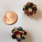 """KOREA"" COLORFUL GEMSTONE FLOWER PIERCED EARRINGS WITH CLEAR STONE CENTER 3/4"" COSTUME"