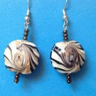 ELEGANT SILVER TONE W BLACK WHITE GOLD SWIRL GLASS DANGLING PIERCED EARRINGS 2""