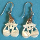 STERLING SILVER MOTHER OF PEARL  MOP LIGHT DANGLING PIERCED EARRINGS