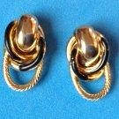 "LOVELY BLACK & GOLD TONE PIERCED EARRINGS TWISTED KNOT DESIGN 1"" X 1/2"""