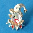 "VINTAGE MOTHER OF PEARL ENAMEL & GOLD TONE CLOWN FACE PIN. 1 1/4"" x 7/8"""