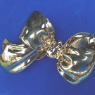 """HUGE GOLD TONE """"MONET"""" FLOWING BOW DESIGN PIN 3"""" X 2 1/4""""VERY NICE"""