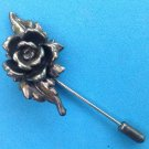 "VINTAGE 1 3/4"" X 1"" ROSE STICK PIN IN SILVER TONE? WITH DEEP PATINA 2 3/4"" LONG"