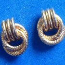 "LOVELY GOLD TONE SHINY & TEXTURED DOOR KNOCKER STYLE PIERCED EARRINGS 1/2"" X 3/8"""