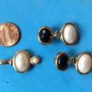 GOLD TONE WITH COSTUME PEARLS AND ONYX PIERCED EARRINGS AND PENDANT SET