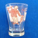 "VINTAGE LARGE SHOT OR WINE GLASS ""HOW DRY I AM"" DULL RED & WHITE ON CLEAR 3.25""H"