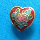 SWEET CLOISONNÉ RED HEART WITH PINK FLOWERS PIERCED STUD EARRINGS