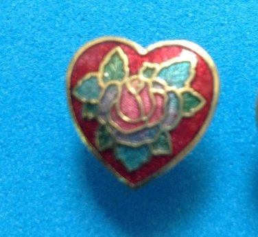SWEET CLOISONN� RED HEART WITH PINK FLOWERS PIERCED STUD EARRINGS