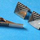 "VINTAGE"" SWANK"" CUFF LINKS TIE CLASP GOLD TONE MOP MOTHER OF PEARL SET 3/4"" SQUARE"