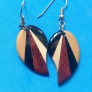 "ARTIST MADE SHADES OF BROWN & BLACK WOOD DANGLE PIERCED EARRINGS 2 1/8"" X 3/4"""