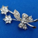 "VINTAGE SILVER TONE AND RHINESTONE FLOWERS PIN 3/4"" X 1 3/4"""