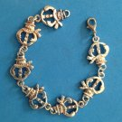 "FUN SILVER TONE BAND OF SNOWMEN LINK BRACELET - 8"" LONG X 3/4"" - ADORABLE !!"