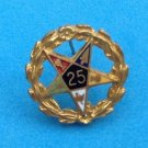 VINTAGE LITTLE EASTERN STAR 25 YEARS PIN. GOLD TONE WITH FLOWERS SETTING. SWEET!