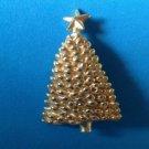 "VINTAGE GOLD TONE CHRISTMAS TREE PIN 2 1/4"" X 1 1/2"" - SIMPLE & ELEGANT"