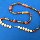 "EARTH TONE LIGHTWEIGHT BEADED NECKLACE @ 30"" LONG, WIDEST BEADS JUST OVER 1/2"""