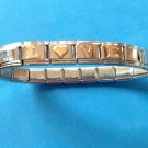 "PRETTY ""LOVE"" ADD-A-CHARM SILVER TONE BRACELET GOLD TONE LETTERS & HEART STRETCH"