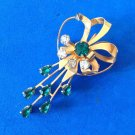 "VINTAGE GREEN AND CLEAR RHINESTONE PIN PENDANT GOLD TONE SETTING 2 1/8"" X 1 1/8"""